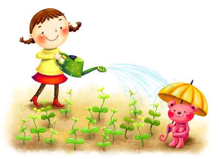 watering plants: Representation of girl watering plants