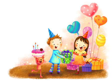 digitally enhanced or generated: Representation of children celebrating birthday LANG_EVOIMAGES