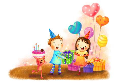 puerile: Representation of children celebrating birthday LANG_EVOIMAGES