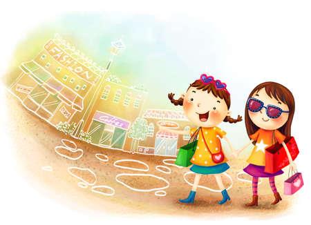 puerile: Representation of girls walking with bag