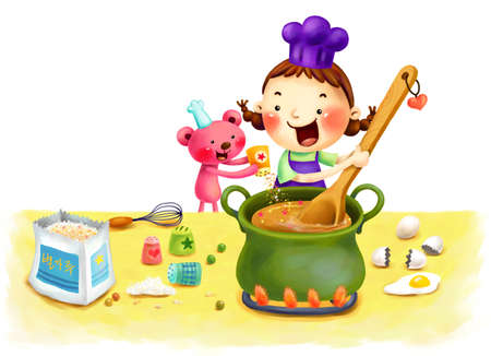 puerile: Representation of girl cooking