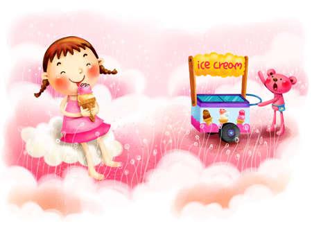 puerile: Representation of girl enjoying ice cream LANG_EVOIMAGES