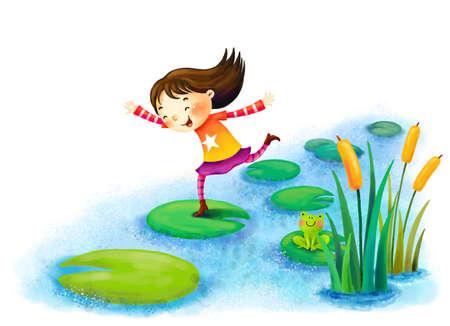 puerile: Representation of girl running on leaves