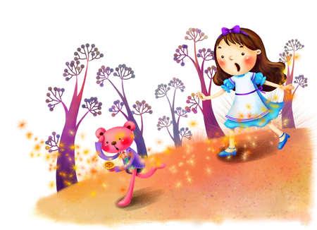 puerile: Representation of girl running