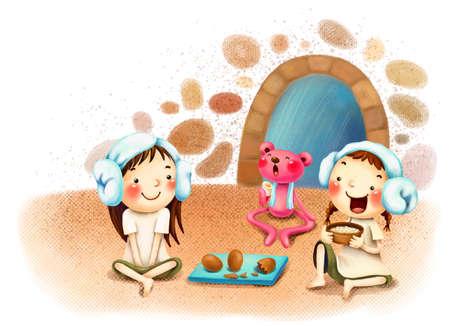 puerile: Representation of girls sitting in sauna