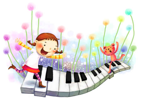 puerile: Representation of girl running on piano LANG_EVOIMAGES