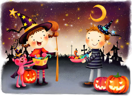 puerile: Representation of boy and girl celebrating Halloween