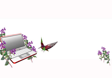 digitally enhanced or generated: Painting of laptop by bird