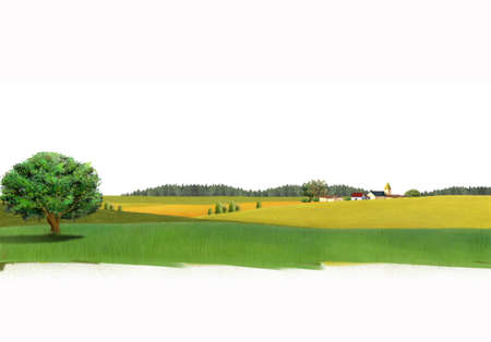 digitally enhanced or generated: Painting of houses in field