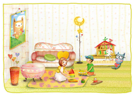 puerile: Representation of girl and boy playing with toys
