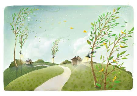 viento soplando: Representaci�n de viento que sopla contra los �rboles