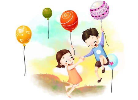 puerile: Representation of boy and girl holding hot air balloons LANG_EVOIMAGES