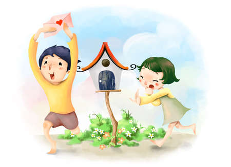 puerile: Representation of boy running with envelope with girl following him