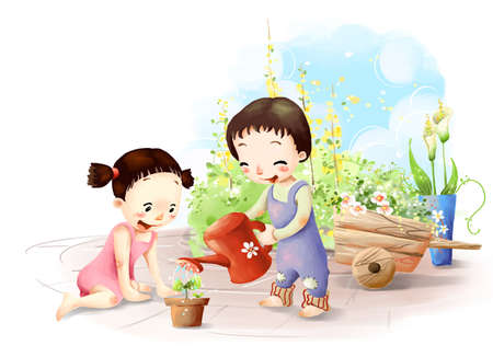 puerile: Representation of boy watering plant LANG_EVOIMAGES