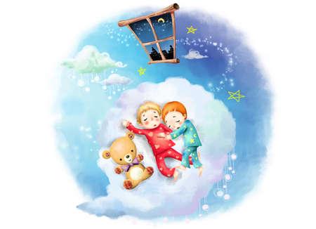 puerile: Representation of boys sleeping on cloud by teddy bear