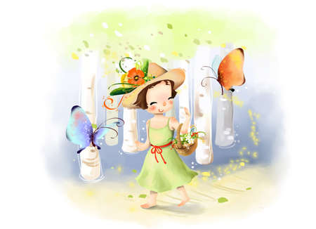 puerile: Representation of girl with flower basket walking in woods LANG_EVOIMAGES