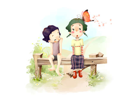 puerile: Representation of boy and girl sitting on bench