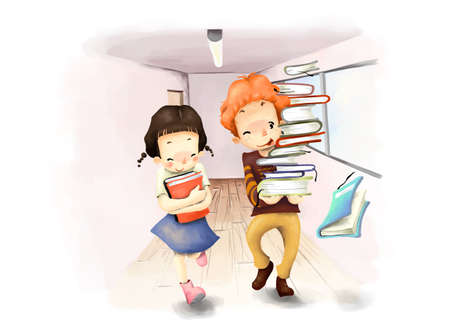 puerile: Representation of boy and girl walking with books LANG_EVOIMAGES