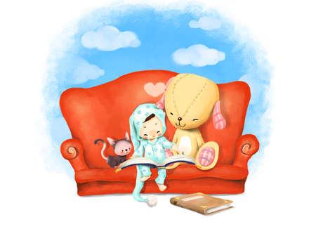 puerile: Representation of girl reading book on sofa