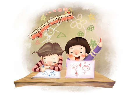 puerile: Representation of boy and girl drawing on paper