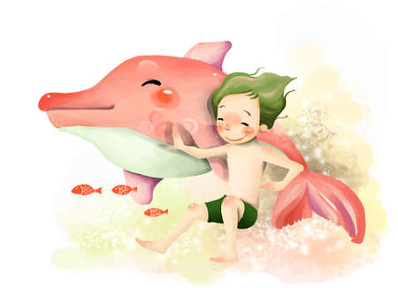 puerile: Representation of boy playing with dolphin LANG_EVOIMAGES