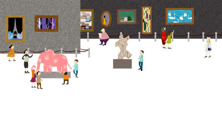 digitally enhanced or generated: Representation of people enjoying in art museum LANG_EVOIMAGES