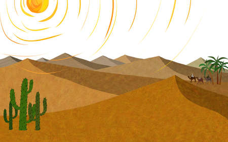 digitally enhanced or generated: Painting of cactus in desert