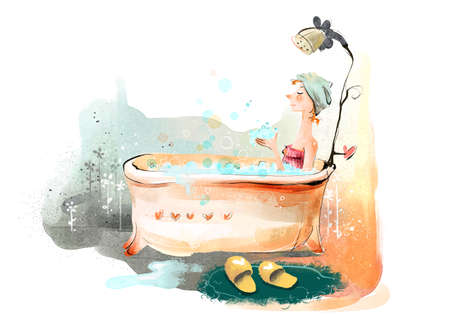 human representation: Painting of a woman in bathtub LANG_EVOIMAGES