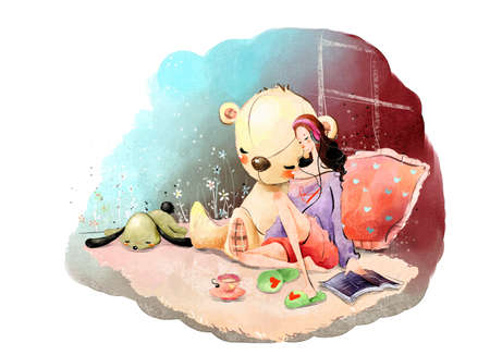 leisureliness: Painting of a woman with earphones relaxing by stuffed toy