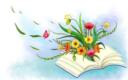 enhanced: Representation of flowers with book LANG_EVOIMAGES