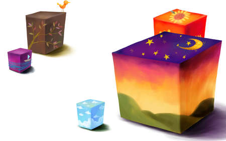 digitally enhanced or generated: Representation of painted boxes LANG_EVOIMAGES