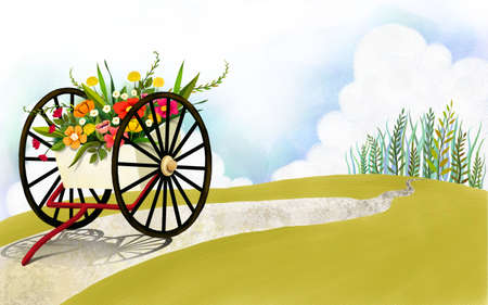 digitally enhanced or generated: Representation of wheelbarrow full of flowers LANG_EVOIMAGES