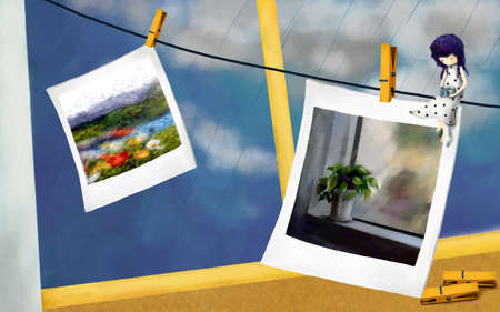 digitally enhanced or generated: Representation of girl sitting on wire with photos clipped