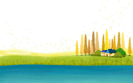digitally enhanced or generated: Representation of a lake with hut in background