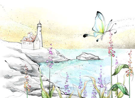 digitally enhanced or generated: Painting of a butterfly flying over lake LANG_EVOIMAGES