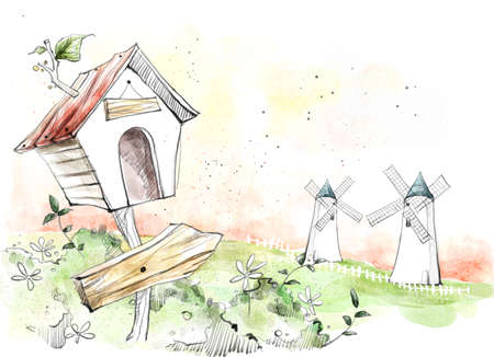 digitally enhanced or generated: Painting of windmills and birdhouse LANG_EVOIMAGES