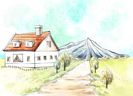 digitally enhanced or generated: Painting of a house by pathway leading towards mountain