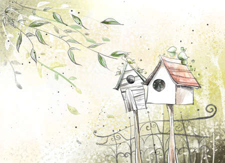 digitally enhanced or generated: Painting of birdhouses