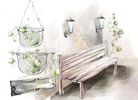 digitally enhanced or generated: Painting of lamps over bench by hanging plants