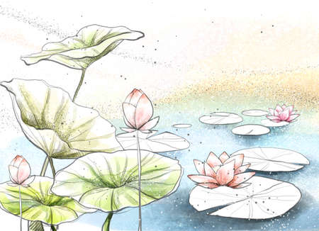 digitally enhanced or generated: Painting of lotus