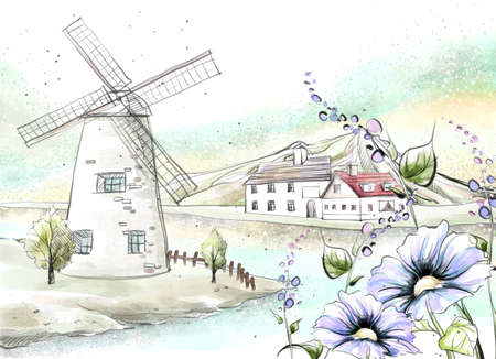 digitally enhanced or generated: Painting of windmill by lake with houses in background