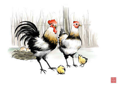 digitally enhanced or generated: Painting of rooster and hen with chicks LANG_EVOIMAGES