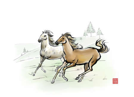 digitally enhanced or generated: Painting of two horses in motion
