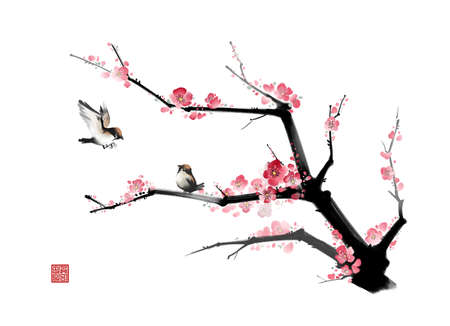 digitally enhanced or generated: Painting of two birds perched on a branch