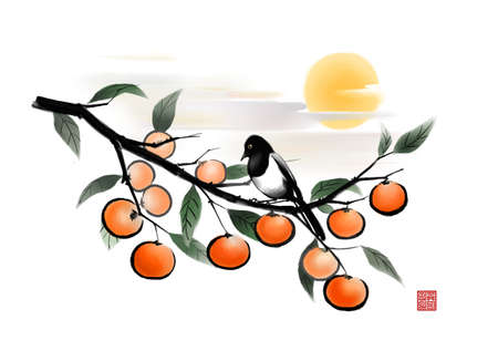 digitally enhanced or generated: Painting of a bird perched on orange tree at sunset