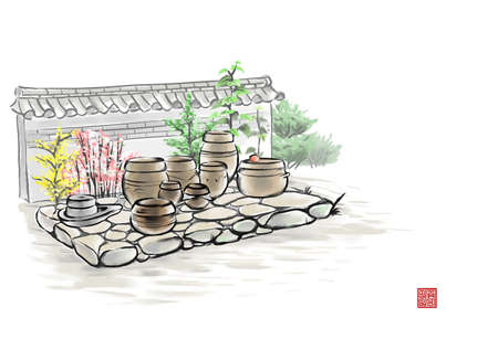 ollas de barro: Pintura de varias ollas de barro