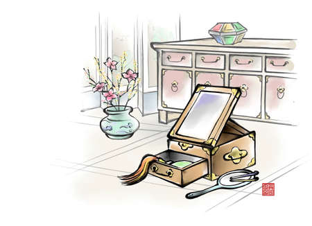 digitally enhanced or generated: Painting of jewelry box with dressing table in the background