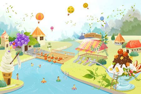 rive: People swimming in rive with ice cream parlor besides river