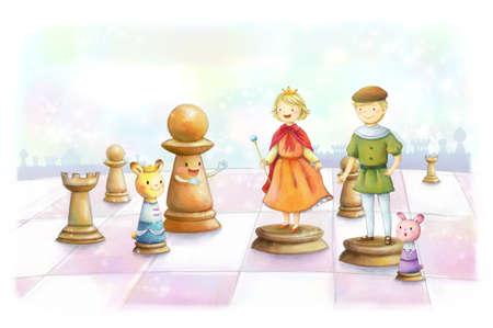 jugando ajedrez: Dos ni�os que juegan al ajedrez