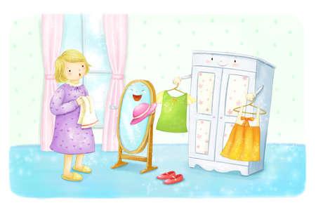 ni�os vistiendose: Ni�o joven que mira el espejo prepar�ndose